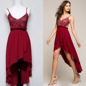 A'Gaci Crochet Backless High Low Maroon Dress Med